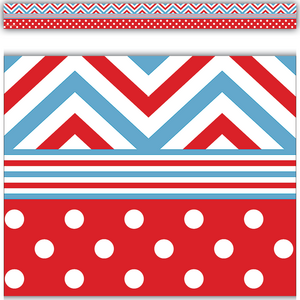 TCR5523 Red & Blue Chevrons and Dots Straight Border Trim Image