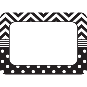 TCR5548 Black & White Chevrons and Dots Name Tags/Labels Image
