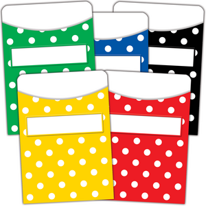 TCR5556 Polka Dots Library Pockets - Multi-Pack Image