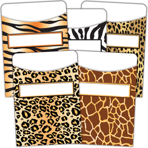TCR5557 Animal Prints Library Pockets - Multi-Pack Image