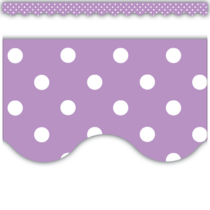 TCR5597 Orchid Polka Dots Scalloped Border Trim Image