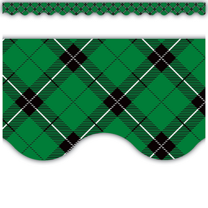 TCR5661 Green Plaid Scalloped Border Trim Image