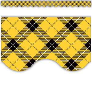 TCR5662 Yellow Plaid Scalloped Border Trim Image