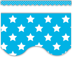 TCR5810 Aqua with White Stars Scalloped Border Trim Image