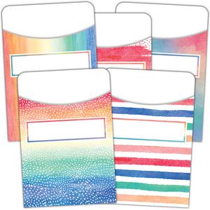 TCR5816 Watercolor Library Pockets - Multi-Pack Image