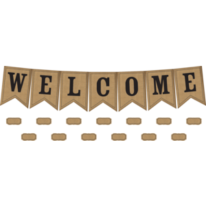 TCR5828 Burlap Pennants Welcome Bulletin Board Display Image