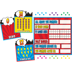TCR5843 Superhero Countng 0-31 Bulletin Board Display Set Image