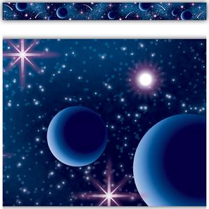TCR5852 Blue Stellar Space Straight Border Trim Image