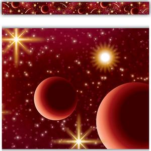 TCR5863 Red Stellar Space Straight Border Trim Image