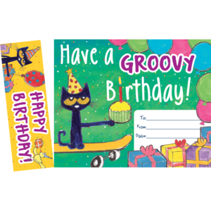 TCR60327 Pete the Cat Groovy Birthday Bookmark Awards Image