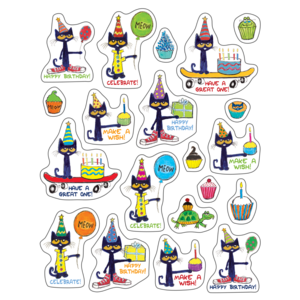 TCR62025 Pete the Cat Happy Birthday Stickers Image