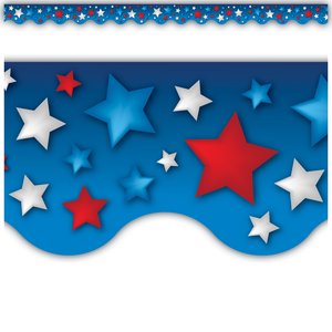 TCR63173 Patriotic Stars Scalloped Border Trim Image