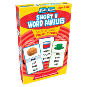 TCR6562 Short U Word Families Slide & Learn Flash Cards Image