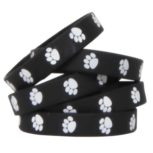 TCR6570 Black with White Paw Prints Wristbands Image