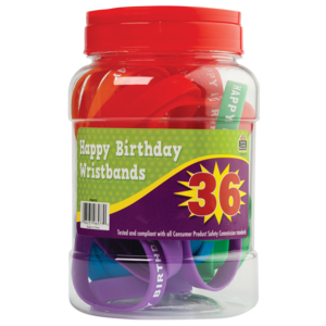 TCR6577 Happy Birthday Wristbands Jar (36 bands) Image