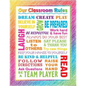 TCR7524 Colorful Scribble Our Classroom Rules Chart Image