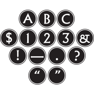 TCR75400 Big Bold Black & White Circle Letters Image
