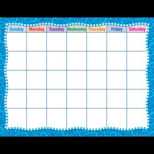 TCR7602 Blue Swirls Calendar Chart Image
