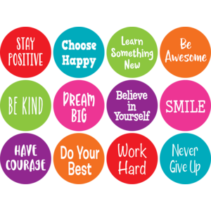 "TCR77006 Spot On Positive Sayings Carpet Markers - 4"" Image"