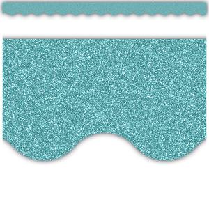 TCR77018 Ice Blue Glitz Scalloped Border Trim Image