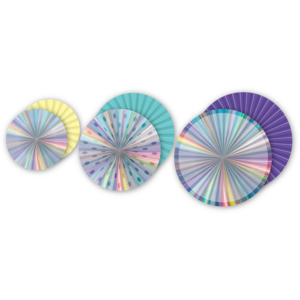 TCR77028 Iridescent Hanging Paper Fans Image
