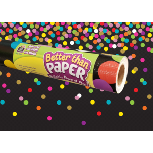 TCR77037 Colorful Confetti on Black Better Than Paper Bulletin Board Roll Image