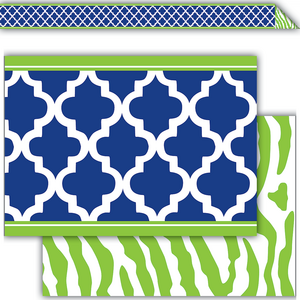 TCR77095 Navy & Lime Wild Moroccan Double-Sided Border Image
