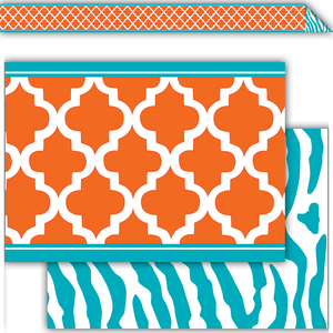 TCR77097 Orange and Teal Wild Moroccan Double-Sided Border Image