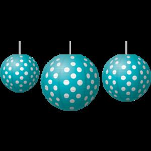 TCR77103 Teal Polka Dots Paper Lanterns Image