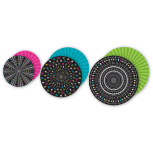 TCR77104 Chalkboard Brights Hanging Paper Fans Image