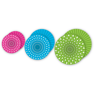TCR77105 Polka Dots Hanging Paper Fans Image
