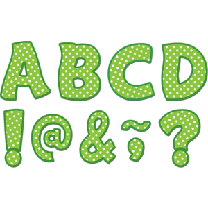 """TCR77215 Lime Polka Dots Funtastic Font 3"""" Magnetic Letters Image"""