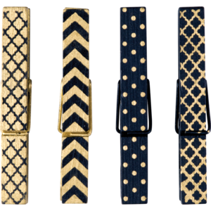 TCR77249 Black & Gold Magnetic Clothespins Image