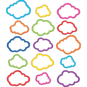 TCR77323 Clingy Thingies Polka Dots Clouds Accents Image