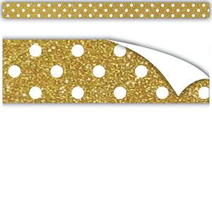 TCR77337 Clingy Thingies Gold with White Polka Dots Strips Image