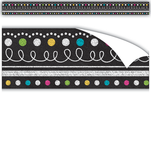 TCR77339 Clingy Thingies Chalkboard Brights Straight Borders Image
