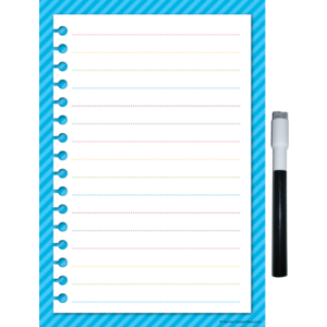 TCR77347 Clingy Thingies Aqua Stripes Small Note Sheet Image