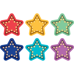 "TCR77381 Spot On Marquee Stars Carpet Markers - 4"" Image"
