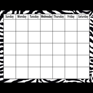 TCR7750 Zebra Calendar Chart Image