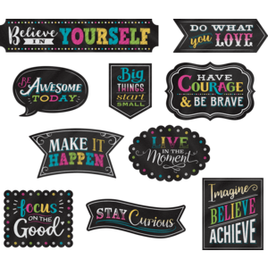 TCR77881 Clingy Thingies Chalkboard Brights Positive Sayings Accents Image
