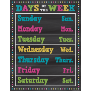 TCR7798 Chalkboard Brights Days of the Week Chart Image