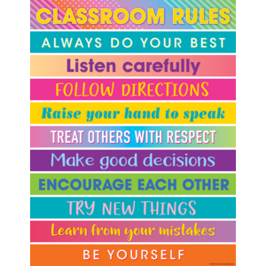 TCR7937 Colorful Vibes Classroom Rules Chart Image