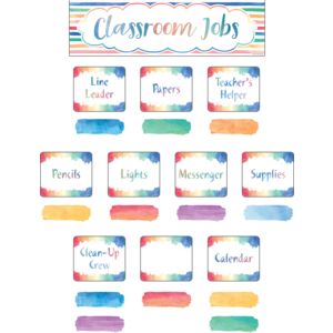 TCR8137 Watercolor Classroom Jobs Mini Bulletin Board Image