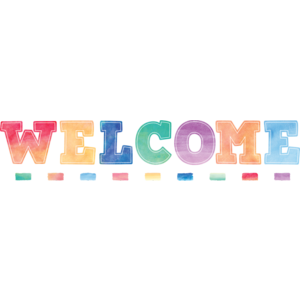 TCR8190 Watercolor Welcome Bulletin Board Display Set Image