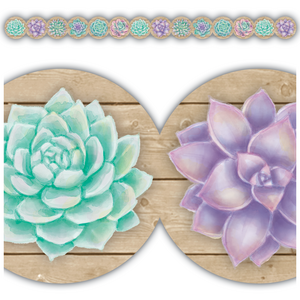 TCR8591 Rustic Bloom Succulents Die-Cut Border Trim Image