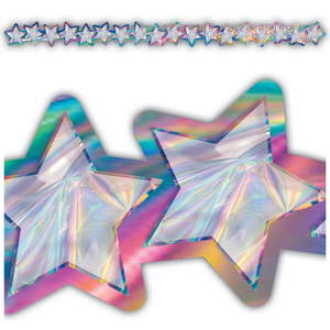 TCR8657 Iridescent Stars Die-Cut Border Trim Image