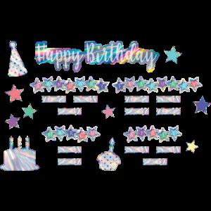 TCR8679 Iridescent Happy Birthday Mini Bulletin Board Image
