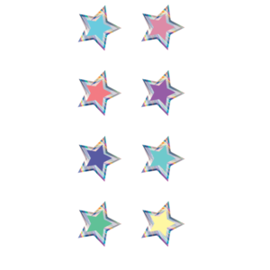 TCR8706 Iridescent Colorful Stars Mini Stickers Image
