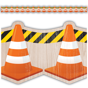 TCR8741 Under Construction Cones Die-Cut Border Trim Image