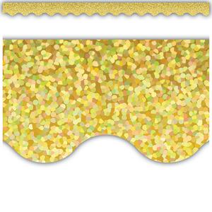TCR8768 Yellow Sparkle Scalloped Border Trim Image
